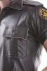 Lederhemd Kurzarm mit Paspel - Rindnappa GRAU