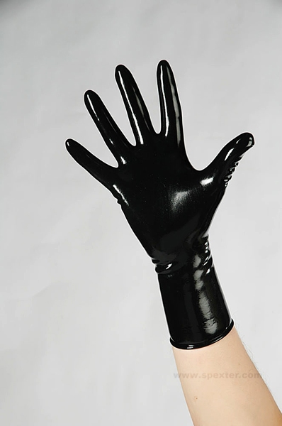 Gummi-Handschuhe - kurz in schwarz