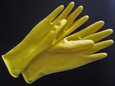 Gummi-Handschuhe - kurz in gelb