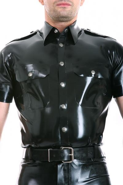 Gummi-Uniform-Shirt Kurzarm - schwarz