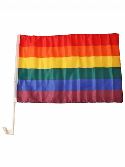 Gay Pride Autofahne mit Stab