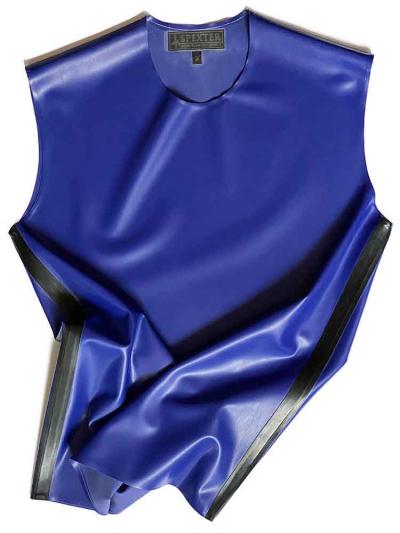 Gummi T-Shirt ohne Arm blau - schwarze Streifen