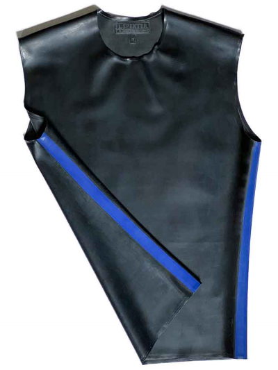 Gummi T-Shirt ohne Arm schwarz - blaue Streifen