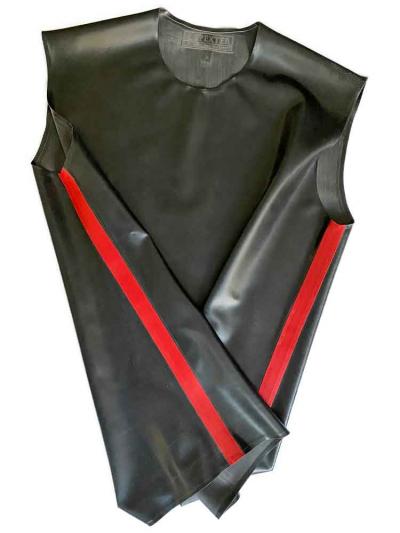 Gummi T-Shirt ohne Arm schwarz - rote Streifen