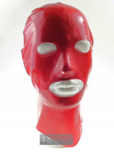 Gummi-Maske MIT Augen- und Mund-Öffnung - rot
