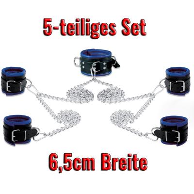 Leder-Bondageset Hals-Hand-Fussfessel - 6,5cm blau