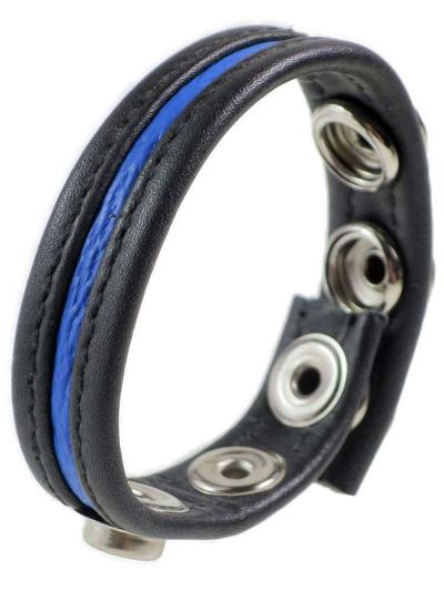 Leder-Cockring blauer Streifen