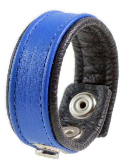 Leder-Cockring breiter blauer Streifen