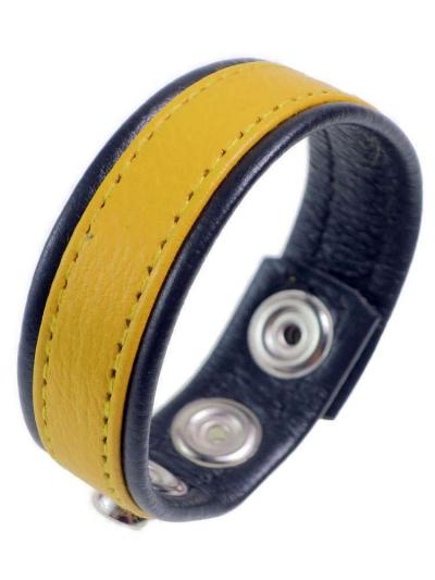 Leder-Cockring breiter gelber Streifen