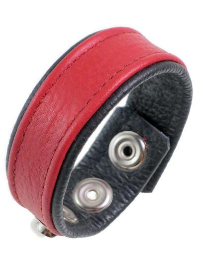 Leder-Cockring breiter roter Streifen