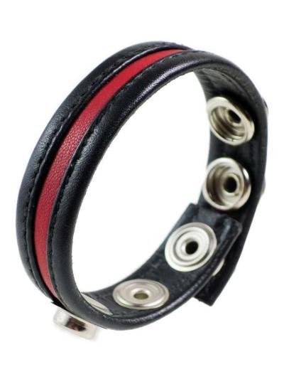 Leder-Cockring roter Streifen