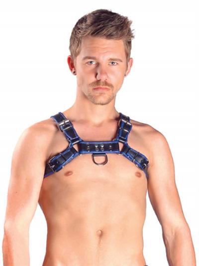 Mister B Leather Chest/Brust Harness, schwarz-blau