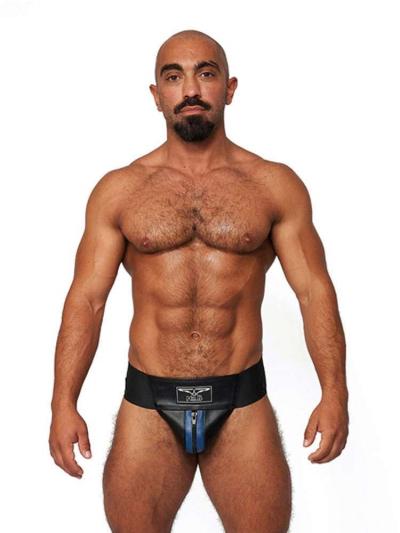 Mister B Leder Premium Jock - schwarz-blau
