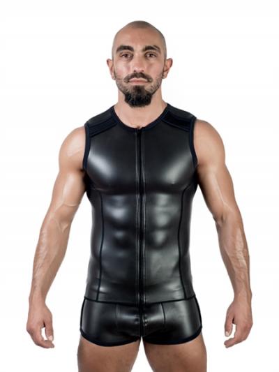Mister B Neopren Sleeveless T-Vest mit Zip - schwarz