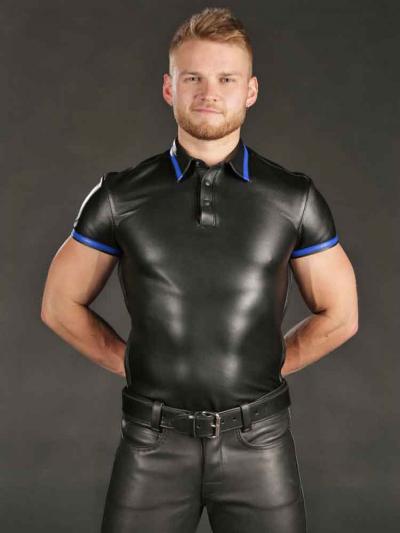 Mister S Lammleder-Poloshirt - blauer Streifen