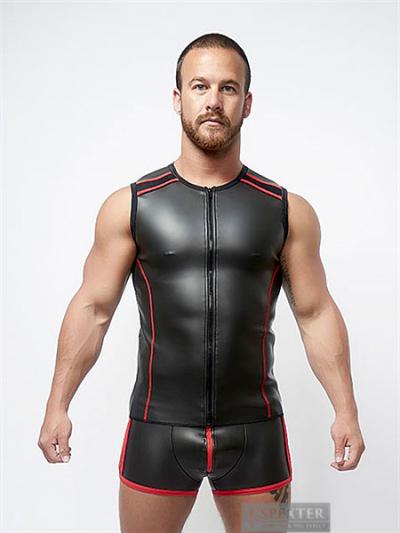 Mister B Neopren Sleeveless T-Vest mit Zip - schwarz-rot