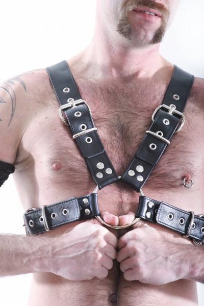 Oberkörper-Harness mit Schließen - schwarz - 4cm