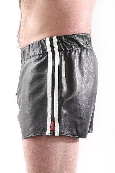 Leder-Boxershort Doppel-Streifen in WEISS