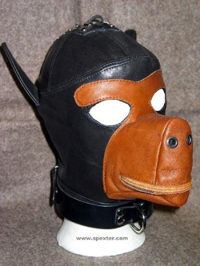 Ledermaske DOG, schwarz/braun