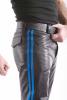 Leder-Stiefelhose mit Doppelstreifen in BLAU