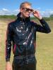 Riegillio Wet Look Lack Tracksuit Jacke-rote Streifen