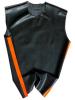 Gummi T-Shirt ohne Arm schwarz - orange Streifen