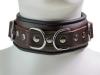 Leder-Halsband gepolstert schwarzbraun - 6,5cm