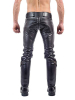 Mister B Leather FXXXer Jeans schwarz - schwarze Paspel