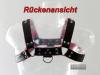 Oberkörper-Harness PITBULL mit roter Paspel - 4cm